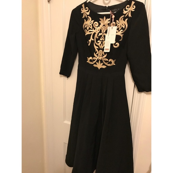 4fede099aed2 Gold Embroidered Midi Dress-Black. NWT. Ted Baker London